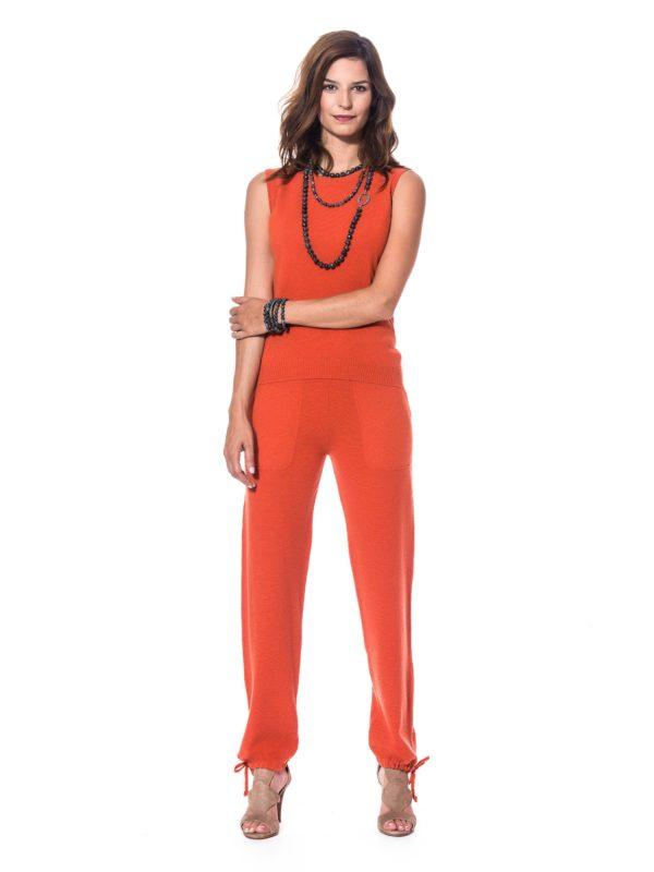 Jogging cachemire femme orange de marque The Cocoonalist