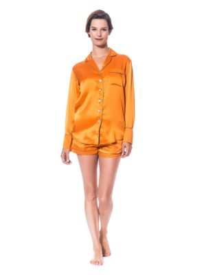 Pyjama short en soie orange, de marque The Cocoonalist