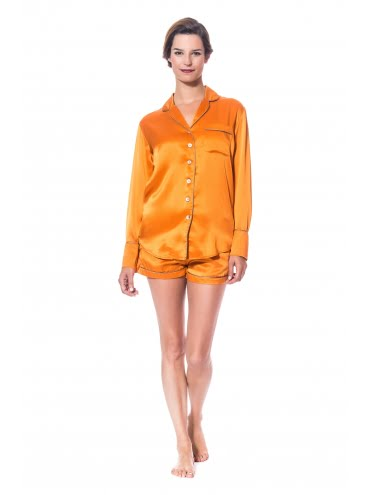 Modèle Diane Pyjama Short Soie Orange