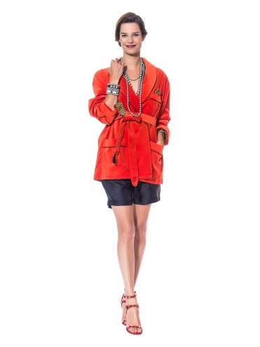 Veste d'interieur velours orange et soie